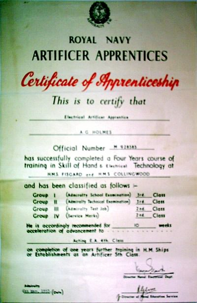 Collingwood Certificate of Apprenticeship 1957