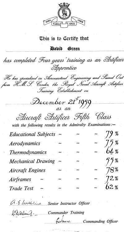 Condor Training Certificate 1959